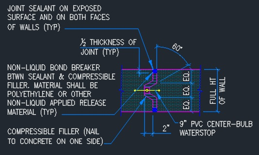 Concrete Wall Vertical Expansion Joint -Typical - CAD Files, DWG files,  Plans and Details