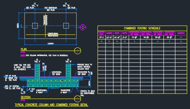 Concrete Column And Combine Footing Detail - CAD Files, DWG files, Plans  and Details