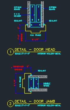 Door head jamb interior cad files dwg files plans for Door jamb size for 2x6 walls