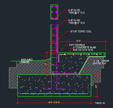 Slab Column Footing-Typical - CAD Files, DWG files, Plans and Details