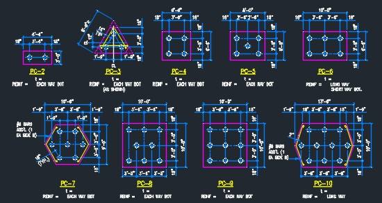 Pile Caps Detail- Typical - CAD Files, DWG files, Plans and Details