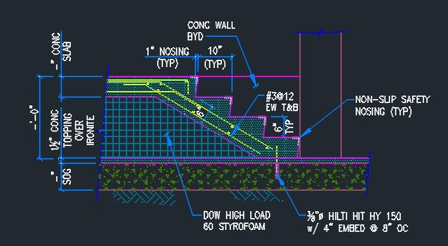 Concrete Stair Over Existing Slab Typical Cad Files