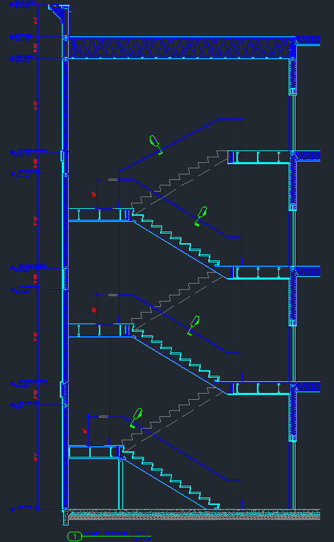 Elegant Stair Detail   4 Story Wood Stair Section With Details   CAD Files, DWG  Files, Plans And Details