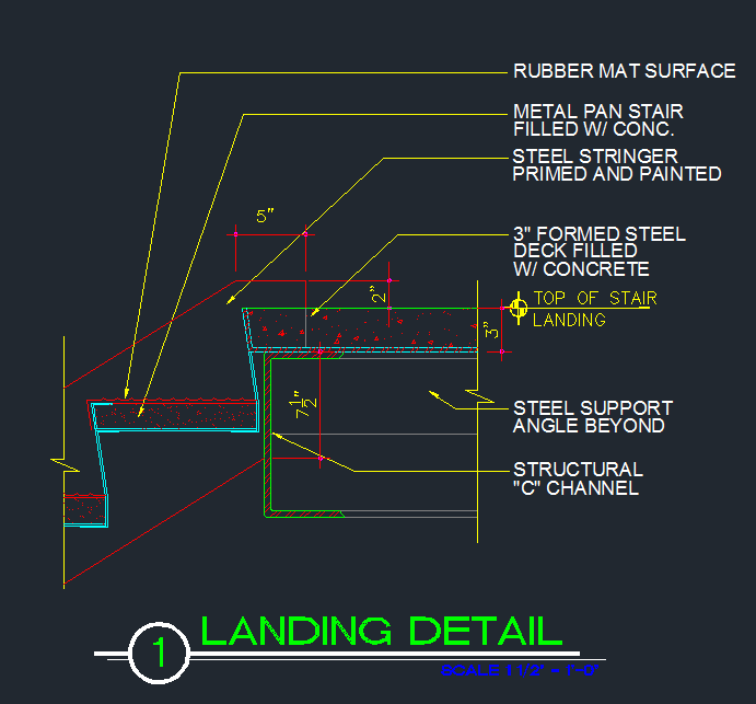 Stair Landing - Connection to Tread and Stringer - CAD Files, DWG files,  Plans and Details