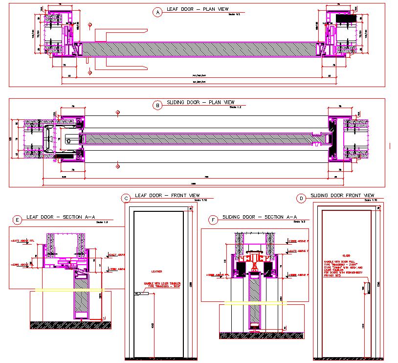 Flush Door Plan Elevation Section : Sliding door leaf detail cad files dwg plans