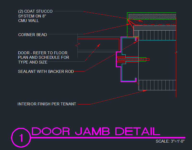 Door jamb cmu w stucco cad files dwg files plans for Door jamb detail