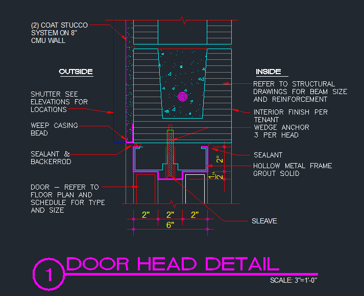 Door Header Metal Frame In Cmu Bond Beam Cad Files