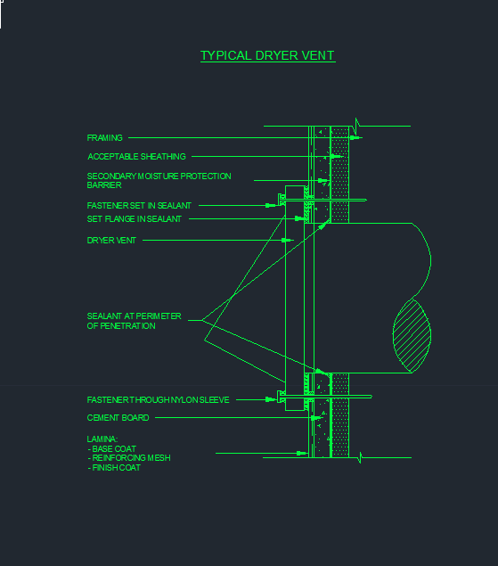 Stucco Detail 18 TYPICAL DRYER VENT CAD Files DWG