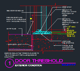 Door Threshold-Exterior - CAD Files, DWG files, Plans and Details