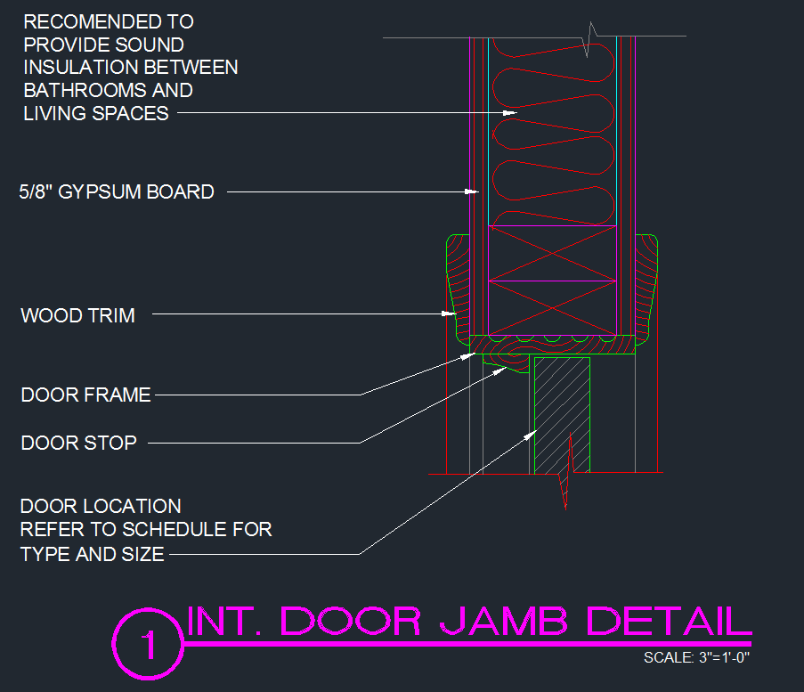 Door jamb detail interior typical cad files dwg for Door jamb detail