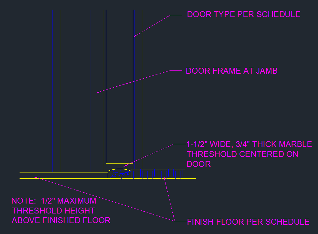 Door Threshold Marble Transition Cad Files Dwg Files Plans And Details