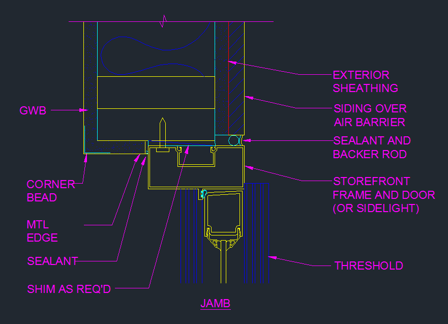 Storefront Door Jamb Detail Plan Cad Files Dwg Files