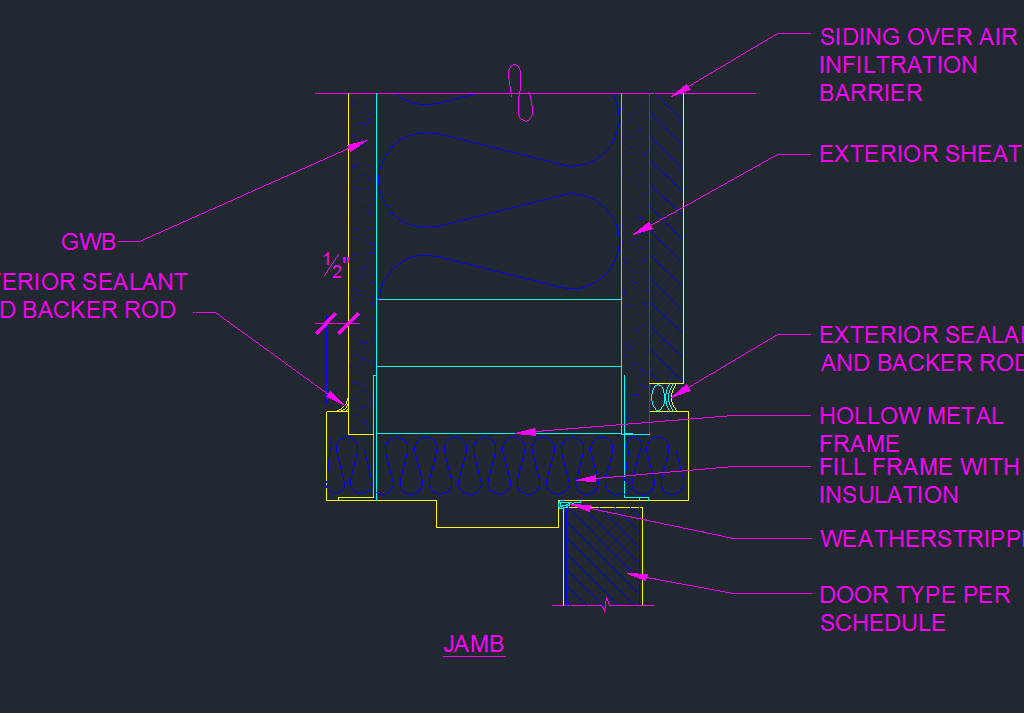 Exterior door frame jamb detail cad files dwg files for Door jamb detail