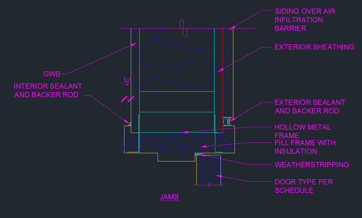 Exterior Door Frame Jamb Detail CAD Files DWG files Plans and