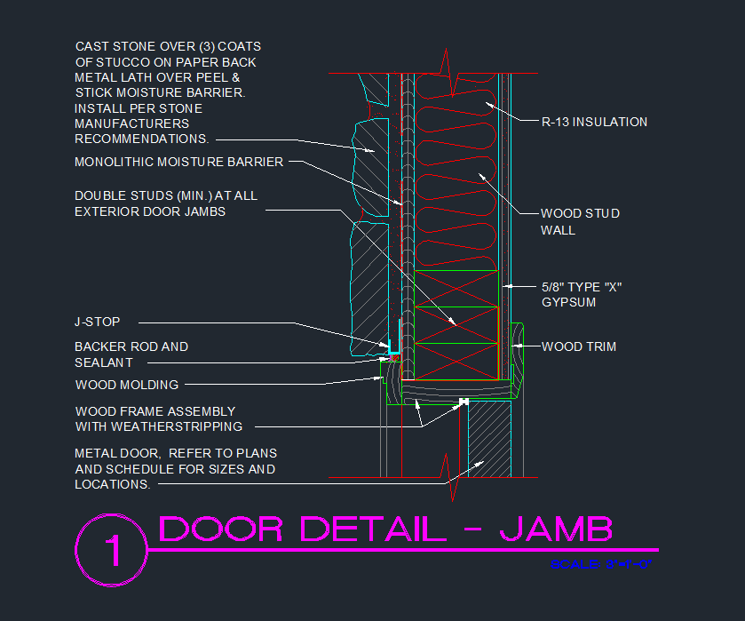Door jamb exterior wood stud with cast stone exterior for Door jamb detail