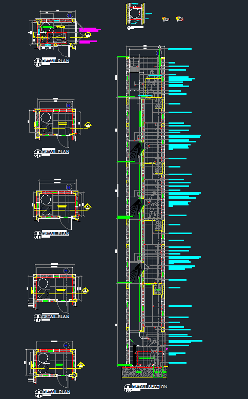 Trash Chute Design : Garbage chute plan and section for multi story building