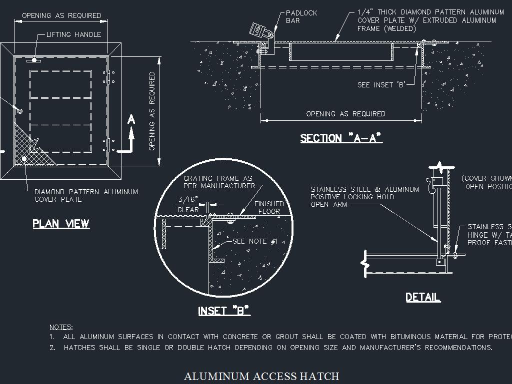 Aluminum access hatch under ground detail cad files