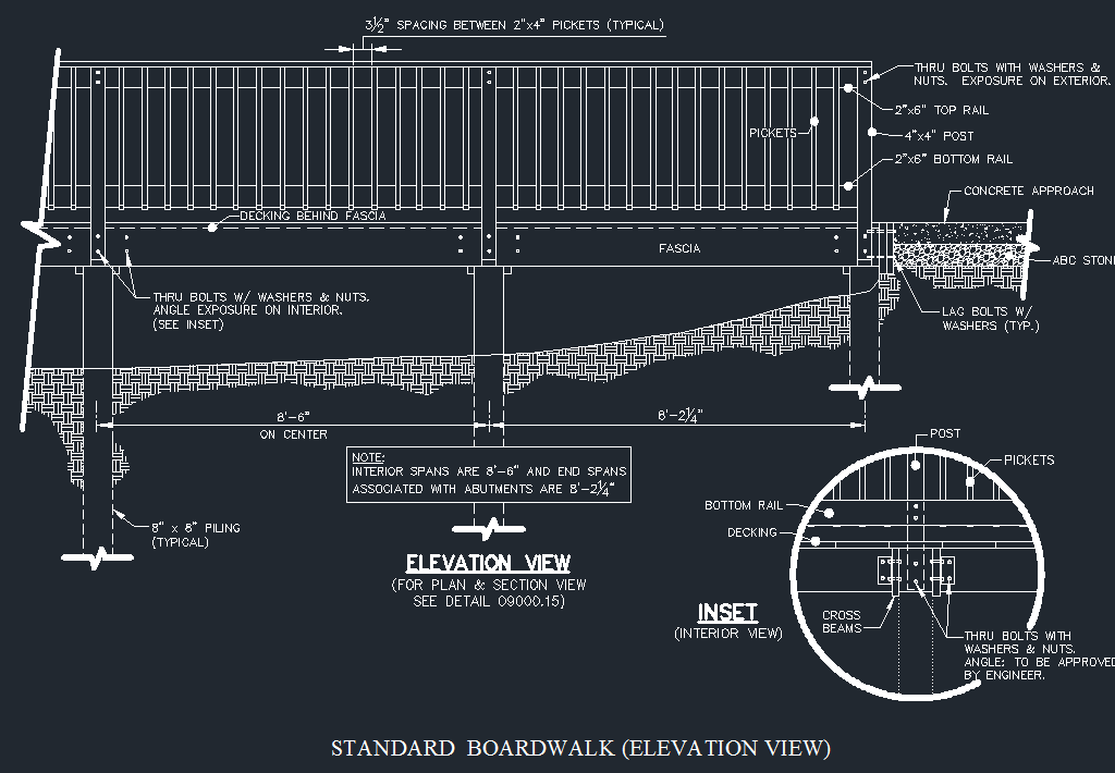 Wood Boardwalk Elevated Walkway Detail Cad Files Dwg