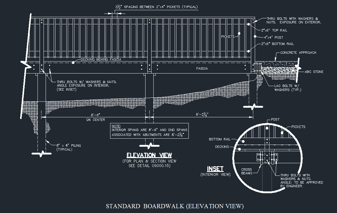 Wood Boardwalk (Elevated Walkway) Detail - CAD Files, DWG files, Plans and  Details