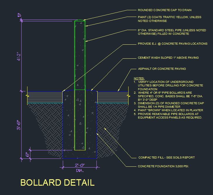 Bollard Detail Cad Files Dwg Files Plans And Details