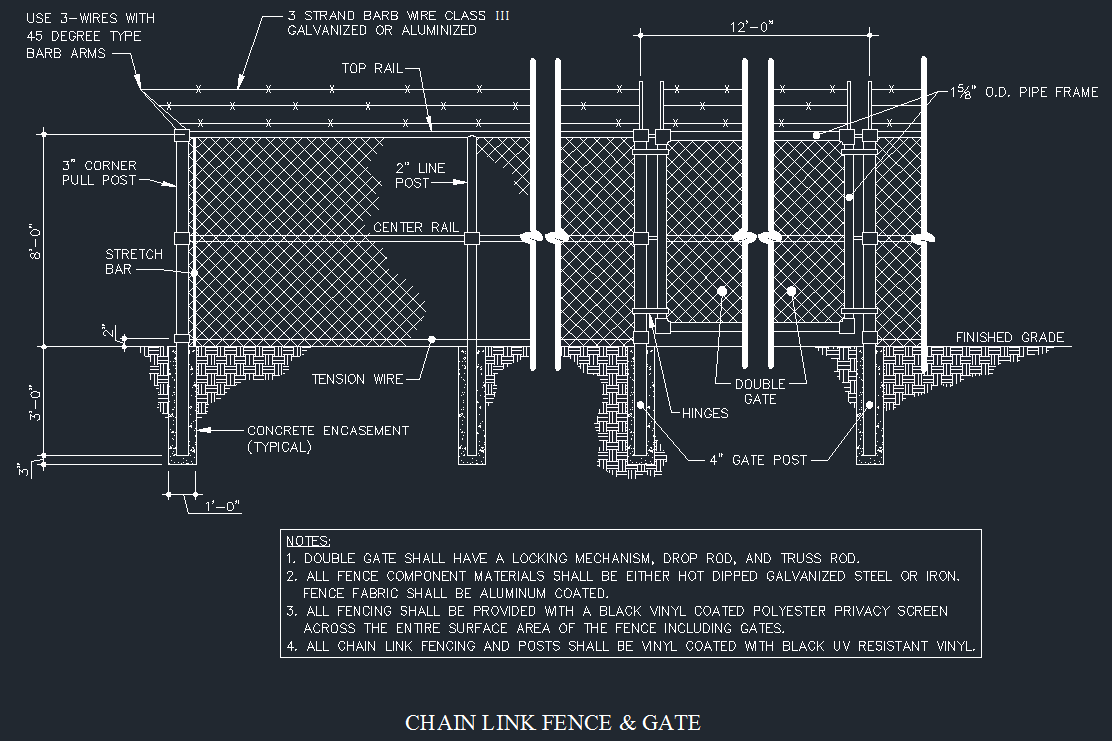 Chain Link Fence & Gate Details - CAD Files, DWG files, Plans and Details