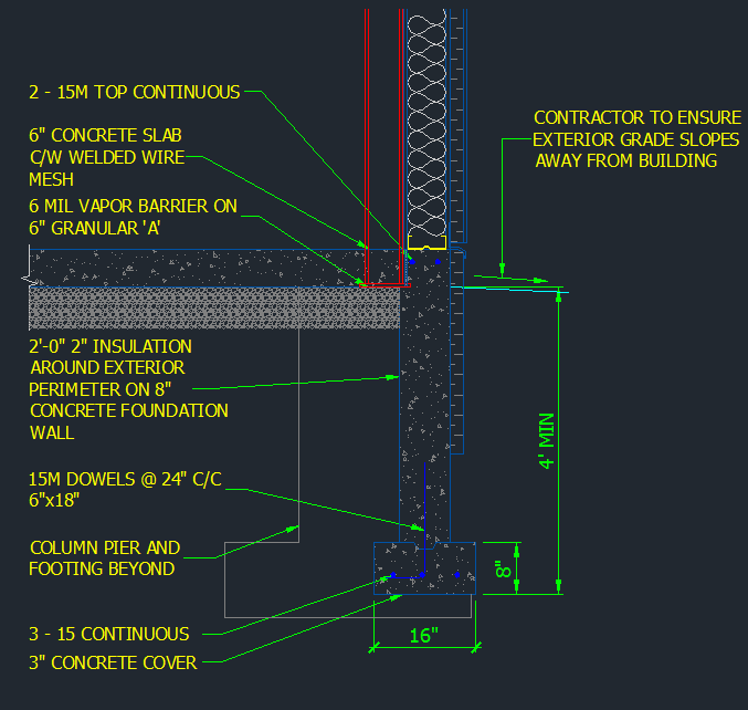 Concrete Foundation – metal stud wall on deep footing w insulation - CAD  Files, DWG files, Plans and Details