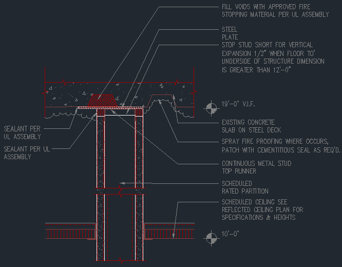 Fire Rated Partition Connection At Steel Deck Cad Files