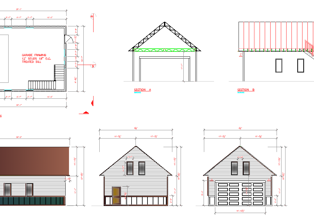 Garage Plans 2 Car With Stair To Attic Cad Files Dwg