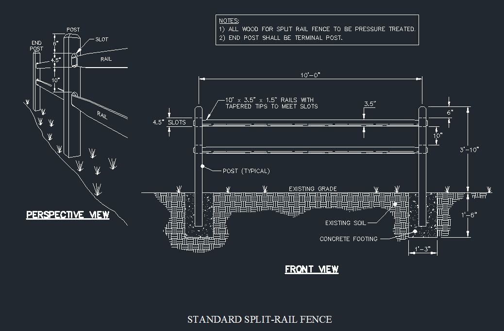 Split Rail Fence Detail - CAD Files, DWG files, Plans and Details