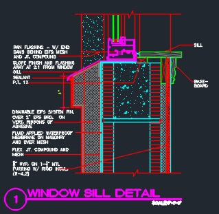 Window Sill Details Cmu W Eifs Veneer Cad Files Dwg