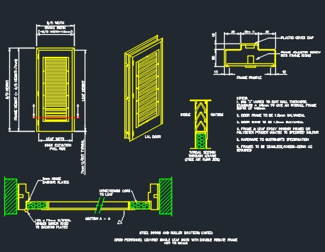 Louvered Door & Frame Details - CAD Files, DWG files, Plans and Details