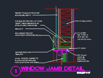 Window Jamb Detail Wood Trim Amp Wood Structure Cad