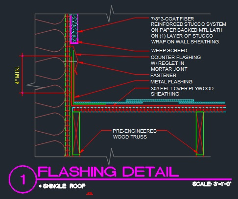 Flashing Detail At Shingle Roof Cad Files Dwg Files