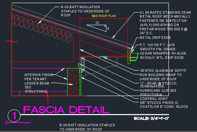 Roof Fascia Edge Detail W Cmu Cad Files Dwg Files