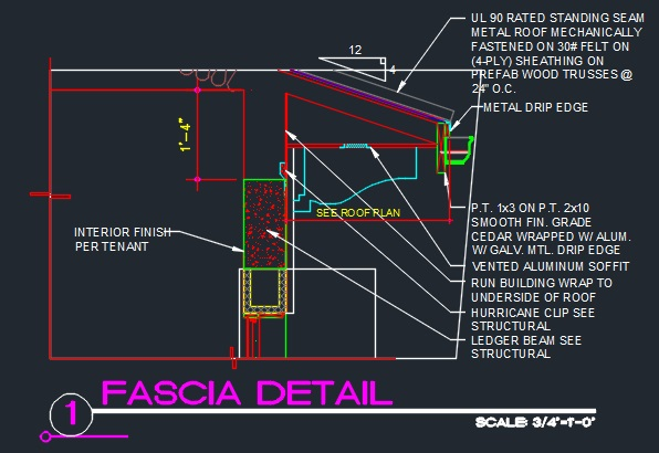 Roof Fascia Edge Detail Gutter Cad Files Dwg Files