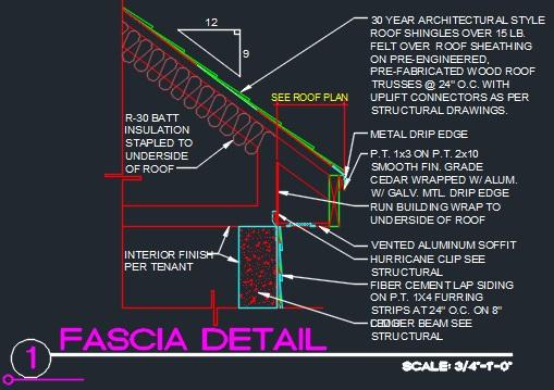 Roof Fascia Edge Detail W Concrete Cad Files Dwg