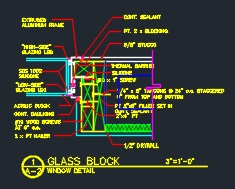 Glass Block Window Frame Detail - CAD Files, DWG files, Plans and Details