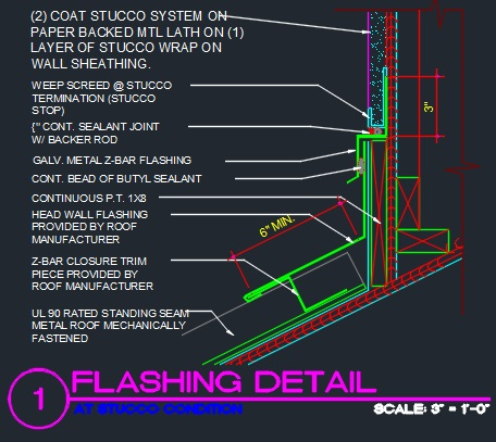 Flashing Detail At Stucco Condition Cad Files Dwg
