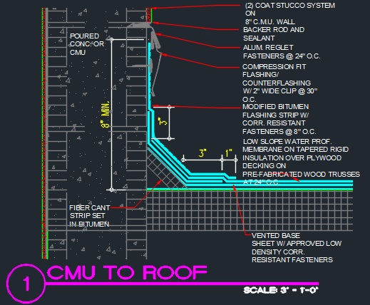Roof Detail Cmu To Roof Cad Files Dwg Files Plans