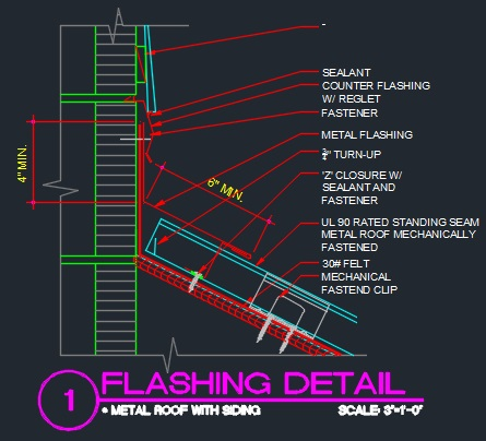Roof Flashing Detail Cad Files Dwg Files Plans And Details