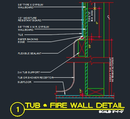 Tub Framing Detail At Fire Wall Cad Files Dwg Files Plans And Details