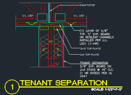 Tenant Separation Framing Detail - CAD Files, DWG files, Plans and Details