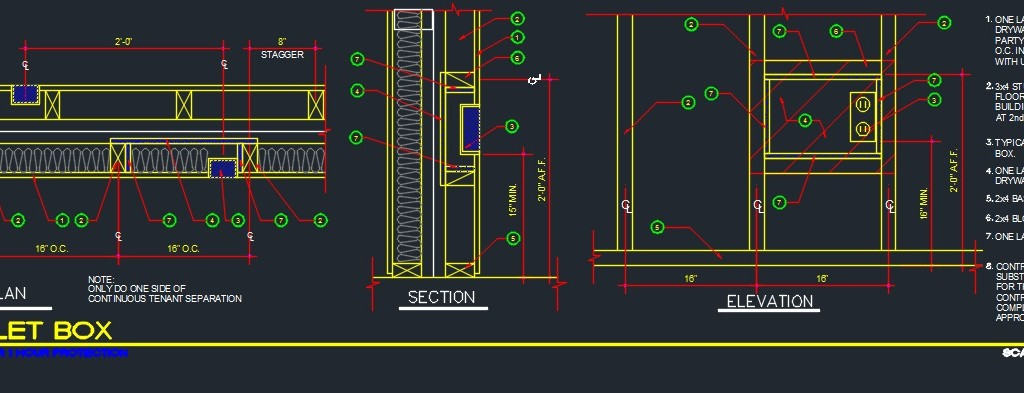 Outlet Box Framing Detail Cad Files Dwg Files Plans