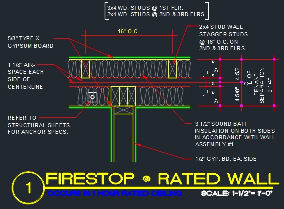 Fire Rated Wall Details : Fire stop framing detail cad files dwg plans and