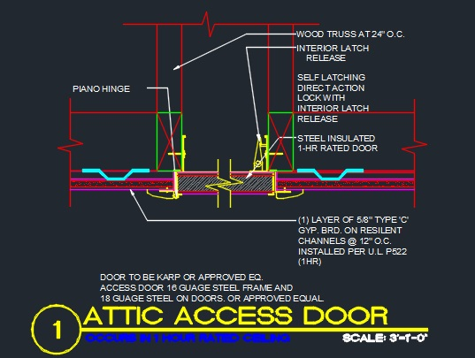 Attic Door Detail Cad Files Dwg Files Plans And Details
