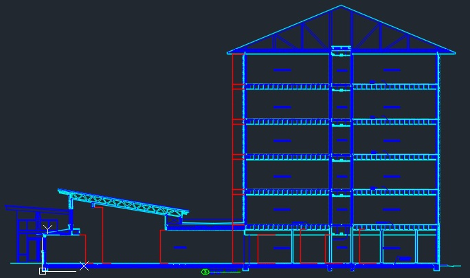 Bldg Sections 6 Story Steel Hotel Cad Files Dwg Files
