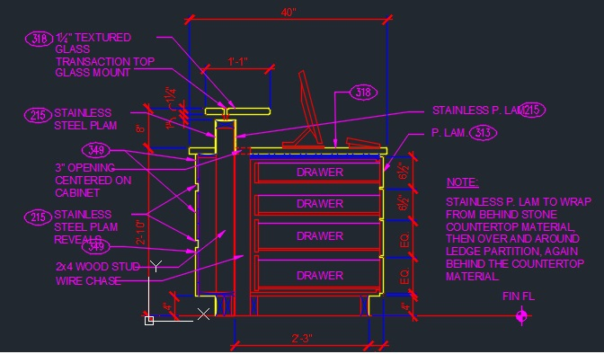 Desk Counter Sections Millwork Cad Files Dwg Files