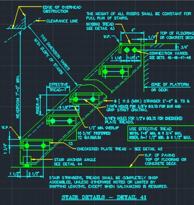 Structural Steel - Stair Tread Details - CAD Files, DWG files, Plans and  Details