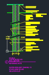 2 Hour Fire Rated Double Wall At Stair Cad Files Dwg