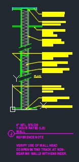 6 Metal Studs 1 Hour Fire Rated Wall Cad Files Dwg